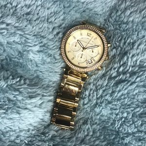 Micheal Kors Ritz studded yellow gold tone watch